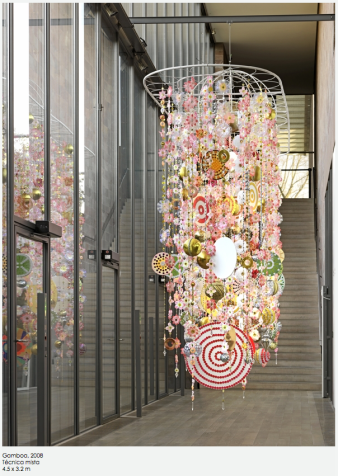 "Installation view of the exhibition ""Beatriz Milhazes"" at the Fondation Beyeler Riehen/Basel (January 29 to May 15, 2011): Beatriz Milhazes, Gamboa Seasons, 2010, Mobile, 470 x 710 x 146 cm, Courtesy of the artist. Photo: © 2011, Serge Hasenböhler, Basel"